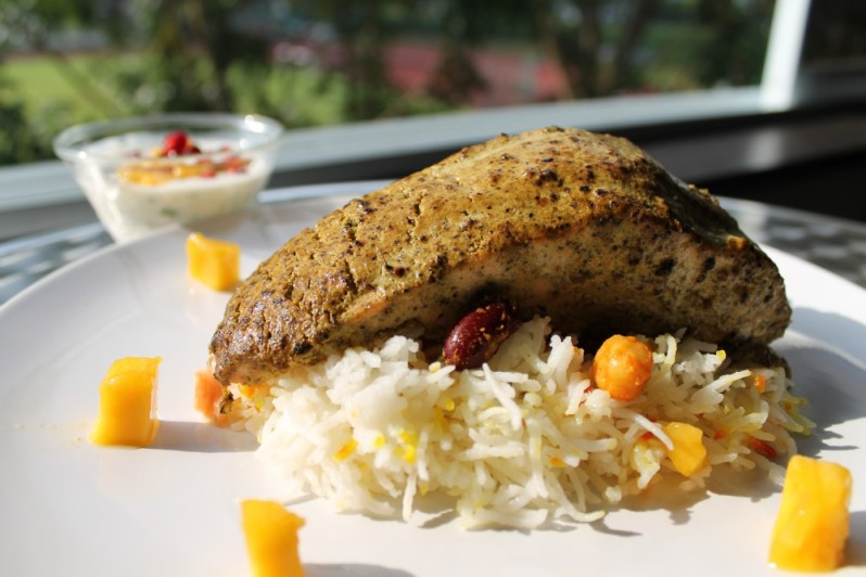 Crusted Salmon and Peshawari Rice with Fruit Raita