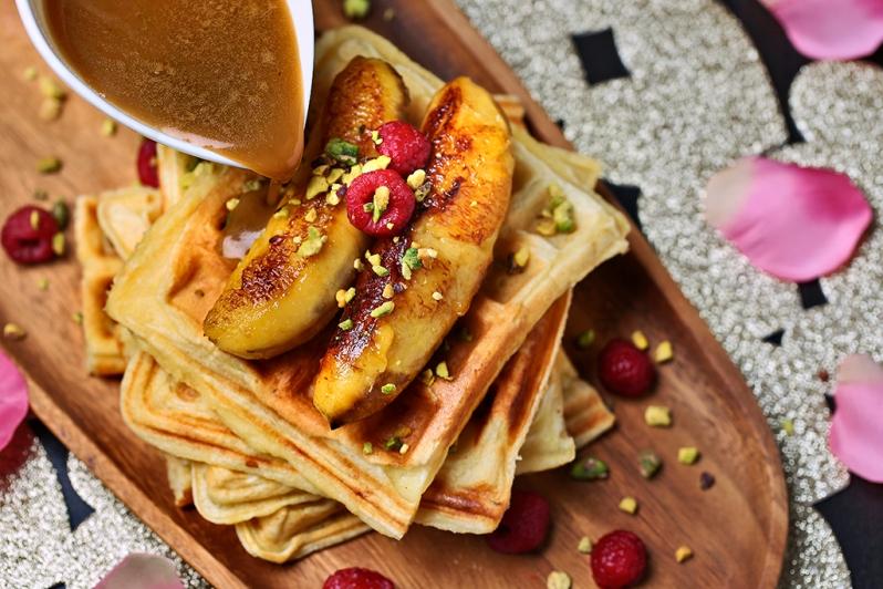 Waffles W Salted caramel Sauce & Rasberries