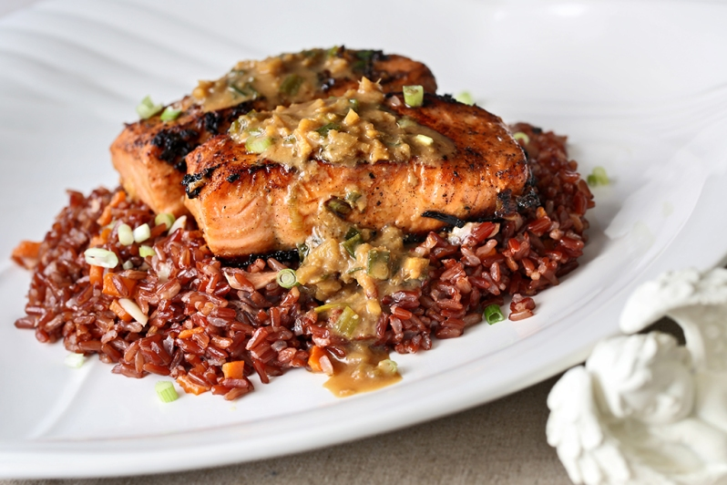 Miso & Cinger Glazed Salmon on Garlic Brown Rice