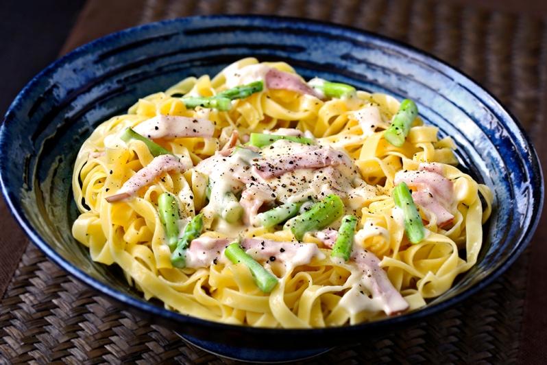 ASparagus & Turkey Ham Fettucine