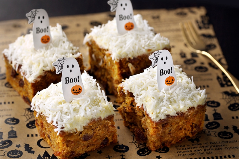 pumpkin-squares-with-cream cheese and coconut frosting